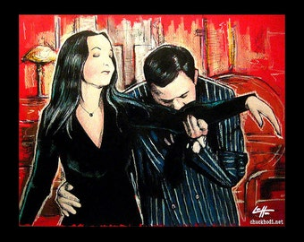 "Print 8x10"" - Oh Tish I love it when you speak French - The Addams Family Morticia Gomez Wednesday Classic Dark Art Comedy TV Horror Gothic"