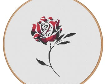 MORE for FREE - Rose Black&Red- Counted Cross stitch pattern PDF - Instant Download - Cross Stitch Pattern - Flowers-Love- Needlepoint #1525