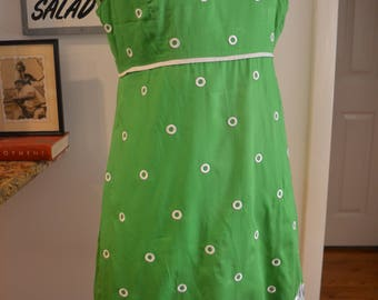 RARE Vintage Lilly Pulitzer green white embroidered polka dot dress S / M small medium