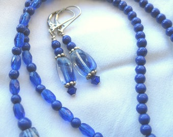 Brilliant Cobalt Blue Beaded Necklace and Drop Earrings Vintage Givre Glass Beads and Sterling Silver