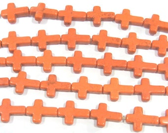12x16mm Cross Orange Magnestite Bead Semiprecious Gemstone Bead Strand Wholesale Beads 4968 - 15''L Jewelry Supply Wholesale Beads
