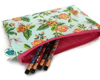 Pencil Pouch - Makeup Bag - Zipper Pouch - Cosmetic Bag - Zipper Clutch - Pencil Bag - Pencil Case - Gadget Bag in Rifle Paper Co Menagerie