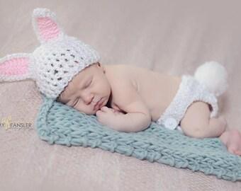 Bunny Newborn Set- Photo Prop- bunny costume- bunny baby shower gift- Easter photo prop- rabbit photo prop- baby rabbit- newborn rabbit