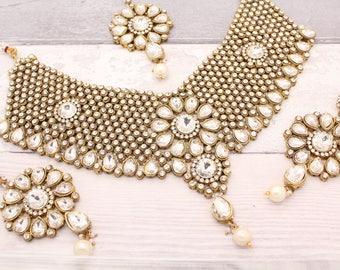 Gold Indian Bollywood Necklace Set with Earrings & Tikka Headpiece Bridal Wedding Jewellery Set