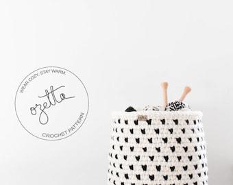 Crochet Pattern - Fair Isle Basket, Storage Basket, Nursery Room Organization - The Alpine Basket