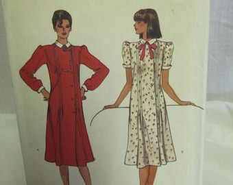 Vogue 7854  Misses' Dress, Size 8, Uncut, Factory Fold, Semi Fitted, Front and Back Tucks, Long or Cap Sleeves, Contrast Collar and Cuff
