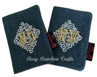 Exclusive Handmade Initials Embroidery Passport Case Holder In Denim Gold & Silver