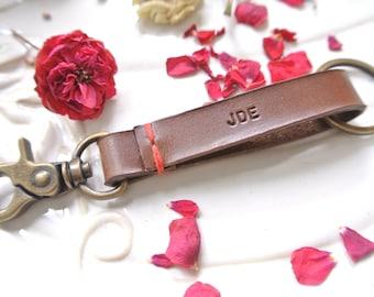 Personalized Leather Keychain Keyclip, mens keychain