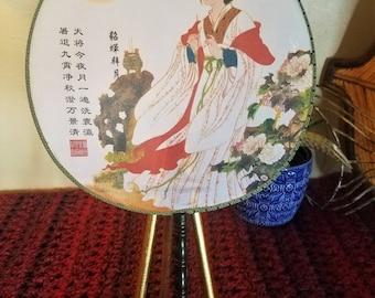 Vintage Japanese Geisha Flowers Silk Paddle Fan/Hand Fan/Round Fan with Handle Japanese Decor
