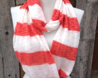 Soft Knit scarf Sweater scarf Coral & White Striped Infinity Scarf Cotton Infinity Scarves, lightweight, women's scarf handmade gift for Mom