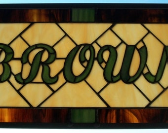 Family Name Sign Gift for Dad, Stained Glass Window Panel, Custom Signage, Gift for Newlywed Couple, Father's Day Gift, Surname