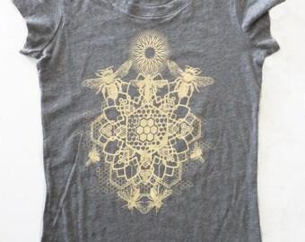 Bee Mandala Printed in Honey Yellow on a Womens Medium Gray Bella Soft 100% Cotton Slim Fit Screen Printed T-Shirt