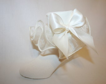 Girls Soft Ivory Nylon Socks with Ivory Organza Ruffle and Satin Bows Linnea by Socks For A Princess