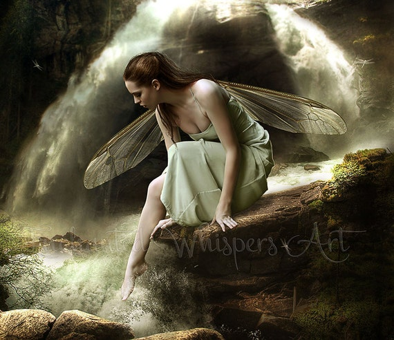fantasy fairy waterfall art print by Enchanted Whispers