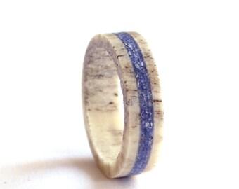 Antler Ring, Wedding Ring With Lapis Lazuli Inlay,  Deer Antler Wedding Band