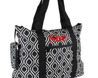 Personalized Black and White Ikat Teacher Scrapbooking Bag Weekender Tote Diaper Bag Embroidery Custom Monogram