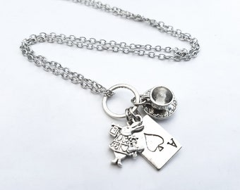 Alice in Wonderland necklace, silver charms, white rabbit, teacup, playing card, Alice theme