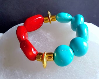 Spring Sale 15%Chunky Red Coral and Turquoise Magnesite Stack Bracelet on Gold Boho Chic Gift For Her
