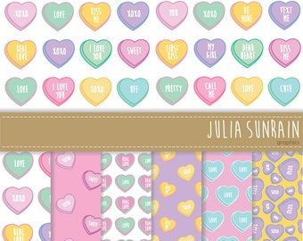 Valnetine's Candy Digital Clipart and Digital Paper - Instant Download - Personal and Commercial Use
