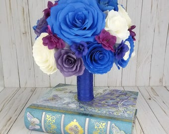 Wedding Bouquet - Purple Bouquet - Blue Bouquet - Paper Flower Bouquet - Alternative bouquet - Peony and Rose Bridal Bouquet - Paper Bouquet