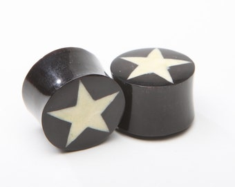 """Horn Plugs with Bone Star Inlay - ON SALE 8g, 6g, 4g, 2g, 0g, 00g, 7/16"""", 1/2"""", 9/16"""", 5/8"""", 3/4"""", 7/8,"""