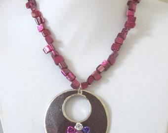 Purple Day Of The Dead Necklace Sugar Skull Jewelry
