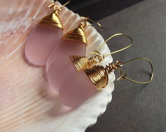 Pink Sea Glass Earrings, Rose Pink Drop Earrings, Gold Wire Wrapped Earrings