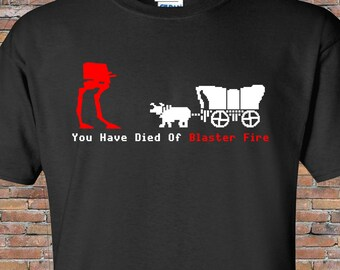 Oregon Trail - Star Wars Mashup Shirt - Blaster Fire-AT-ST--Funny 80s T-Shirt - Mens - Womens - Gift - Birthday