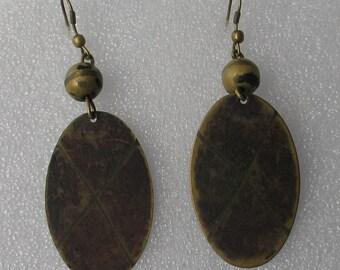 """SALE 3"""" Brass Patina  Dangle Earrings"""