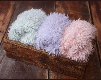 Faux Fur Newborn Photo Prop * super soft basket filler stuffer and bean bag covering * mint, lavender, pink * flokati alternative