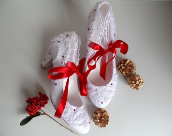Lace Wedding Shoes, White Bridal Shoes Embellished with Red Ribbons and Rhinestones Low Heels