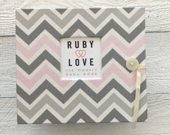 BABY BOOK   Pink and Gray Chevron Stripe Album