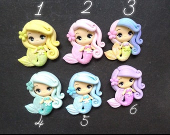 Clay, Mermaid, bow centre, embellishments, mermaid clays, magnet, jewellery, hair bow