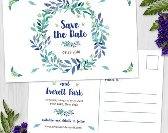 Watercolor Floral Blue Green Wedding Wreath Save the Date Postcard or Flat Card, Printable, Evite or Printed (US Only) Announcements