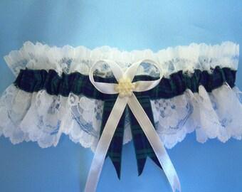 Black watch tartan wedding bridal garter with ivory or white lace.