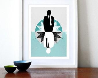Retro poster print  Mid Century Modern Eames office kitchen art - Mad Men Aqua A3