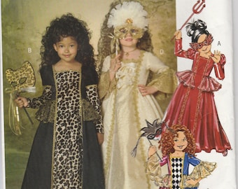 Costume Dress Pattern Period Gown Uncut Girls Size 6 - 8 Butterick 182 BP182 Easy