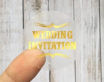 WEDDING INVITATION - Gold Foil Labels - Sticker - Seal - #09