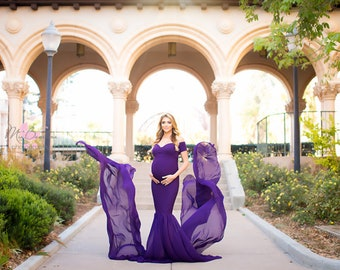 Maternity Dress-Maternity Dress for Baby Shower-Maternity Gown for Photo Shoot-Sheer Pregnancy Dress-Chiffon Maternity Gown-PAMELA