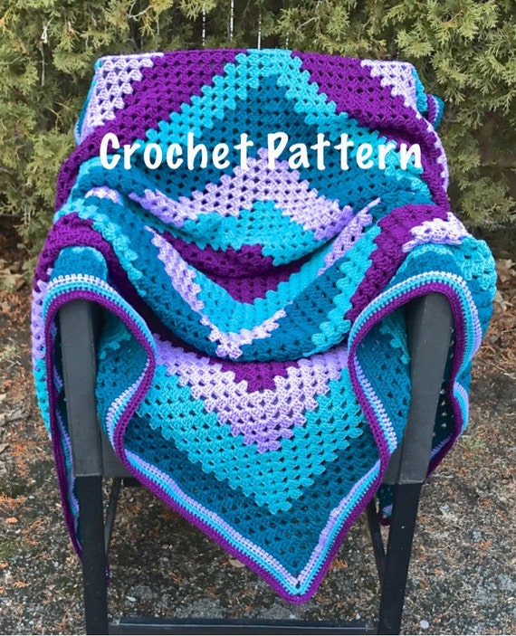 Crochet Pattern Purple And Teal Striped Giant Granny Square