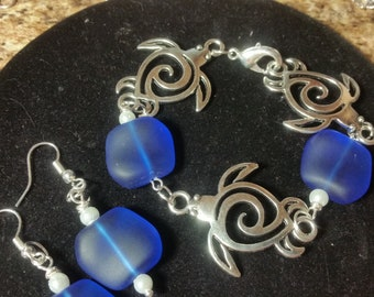 Man made cobalt Sea Glass and Sea Turtle bracelet with matching earrings