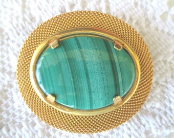 MESH PIN / BROOCH With Green Stone * Large Statement Pin * Gift For Lady * Classic Vintage