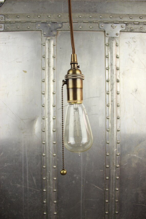 industrial pull chain plug in pendant light antique brass bare. Black Bedroom Furniture Sets. Home Design Ideas