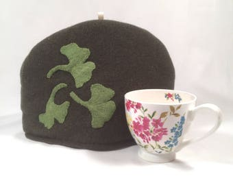 Tea Cozy from Felted Wool,  Felted Wool Ginko Leafs, Upcycled, Hand made, Navy Blue