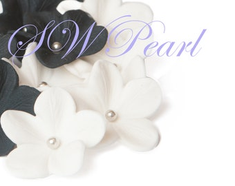 White Sugar Flowers Set With Silver Balls Edible Cake Cupcake Toppers