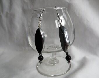 Silver and Black Dangle Earrings, earrings, dangle, black