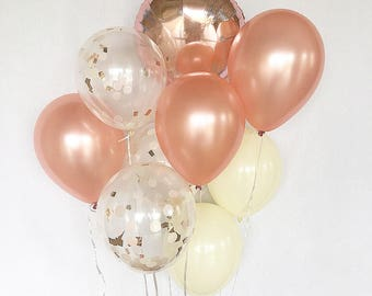 Rose Gold Balloons Rose Gold Confetti Ivory Latex Balloons Rose Gold Bridal Shower Rose Gold Wedding Fall Bridal Shower Bachelorette Party