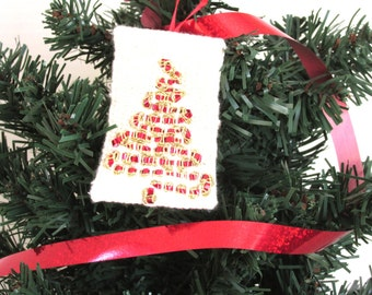Handwoven red tree ornament