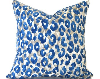 Blue Outdoor Pillows ANY SIZE Outdoor Cushions Outdoor Pillow Covers Decorative Pillows Outdoor Cushion Covers Snow Leopard Cornflower