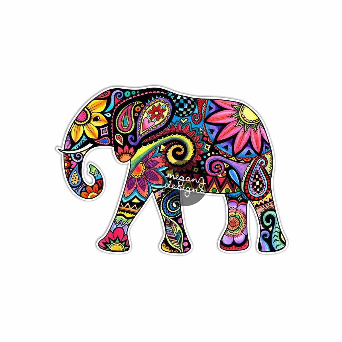 Eye Wall Stickers Elephant Car Decal Colorful Design Bumper Sticker Laptop Decal